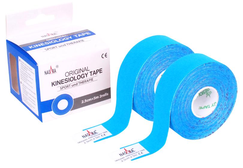 Кинезио тейп NASARA 2,5см*5м (2шт.) голубой